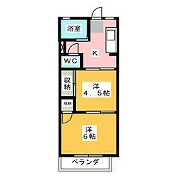 レジデンスピュアB[2階]の間取り