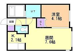 Encore豊平公園 1階1LDKの間取り