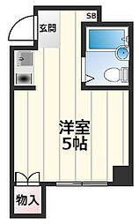 ラティス守口 2階ワンルームの間取り