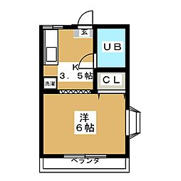 東急東横線 中目黒駅 徒歩8分の賃貸アパート 2階1Kの間取り