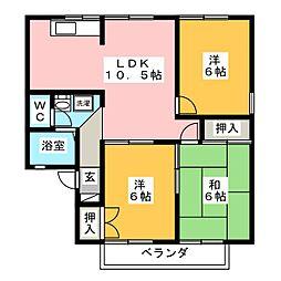 セジュール三宅[2階]の間取り