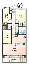 東京都日野市豊田2丁目の賃貸マンションの間取り