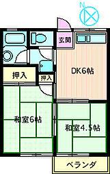 第3鶴の台コーポ[203号室]の間取り