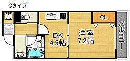 エテックUMIO 2階1DKの間取り