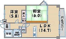 阪急神戸本線 西宮北口駅 徒歩20分の賃貸マンション 6階2LDKの間取り