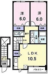 香川県高松市川部町の賃貸アパートの間取り