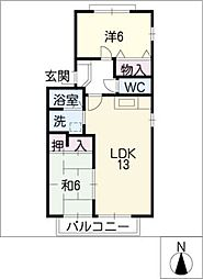 ビューラ加藤A[1階]の間取り
