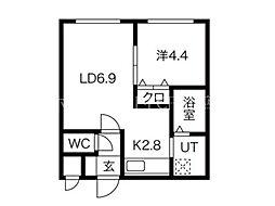 ル・ファール南6条イースト 4階1LDKの間取り