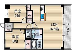 ネオコート上土室[5階]の間取り
