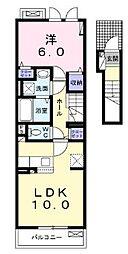 JR高徳線 木太町駅 徒歩11分の賃貸アパート 2階1Kの間取り