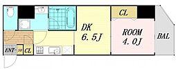 ファーストフィオーレ東梅田 14階1DKの間取り