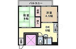 阪急千里線 吹田駅 徒歩6分の賃貸マンション 4階2DKの間取り