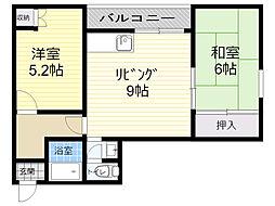 西田ハイツ 3階2LDKの間取り