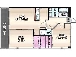 福岡県福岡市南区鶴田3丁目の賃貸マンションの間取り