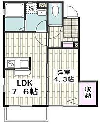 横浜市営地下鉄ブルーライン 中田駅 徒歩3分の賃貸アパート 1階1DKの間取り