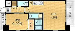 Osaka Metro谷町線 野江内代駅 徒歩4分の賃貸マンション 7階1LDKの間取り