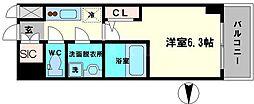エスリード大阪城クローグ 15階1Kの間取り