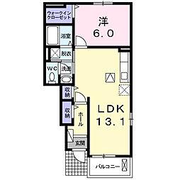 愛知県名古屋市守山区花咲台1丁目の賃貸アパートの間取り