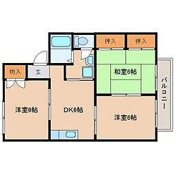 静岡県静岡市葵区上足洗の賃貸アパートの間取り
