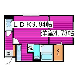 札幌市営南北線 麻生駅 徒歩6分の賃貸マンション 1階1LDKの間取り