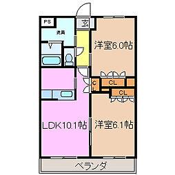 コートヴェール中島田[105号室号室]の間取り
