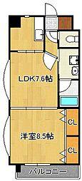 浅野ベイタワー 3階1LDKの間取り
