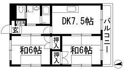 兵庫県川西市緑が丘2丁目の賃貸アパートの間取り