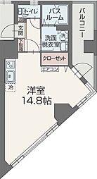 アマネ ウエスト 2階ワンルームの間取り
