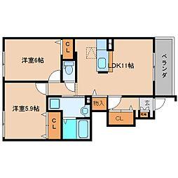 奈良県香芝市北今市2丁目の賃貸アパートの間取り