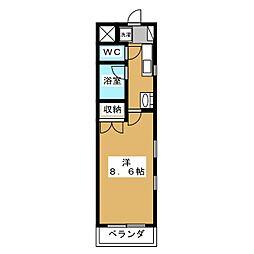 VILLA DEL SOLE新松戸 3階1Kの間取り