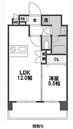 ミヤレジデンスセブン 2階1LDKの間取り