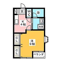 タウンフラットII[2階]の間取り