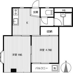 京町コーポラス第1[2階]の間取り