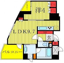 東京メトロ千代田線 根津駅 徒歩2分の賃貸マンション 9階1LDKの間取り