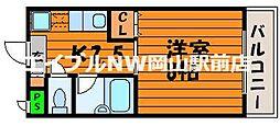 岡山県岡山市北区三野2丁目の賃貸マンションの間取り