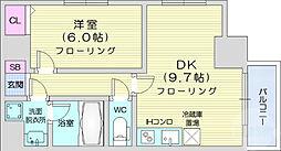 JR仙山線 東北福祉大前駅 徒歩13分の賃貸マンション 7階1DKの間取り