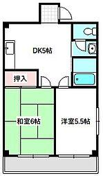 Osaka Metro谷町線 守口駅 徒歩7分の賃貸マンション 3階2DKの間取り