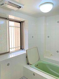 大きな窓が付いた清涼感あふれるバスルーム。