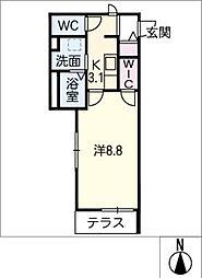 Relent 矢田 1階1SKの間取り