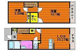 Fortuna松新町 2階2LDKの間取り