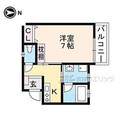 ネクストライフ桂駅 2階1Kの間取り
