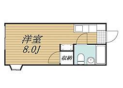 京成本線 京成成田駅 バス27分 本城下車 徒歩3分の賃貸アパート 2階ワンルームの間取り