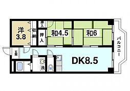 メゾン東生駒[5階]の間取り