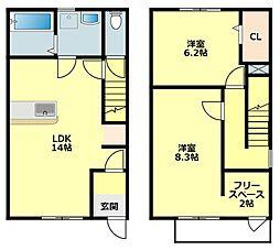 名鉄蒲郡線 西幡豆駅 徒歩9分の賃貸タウンハウス 1階2LDKの間取り