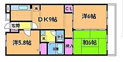 東京都調布市柴崎2丁目の賃貸マンションの間取り