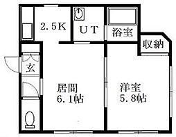 北海道札幌市豊平区豊平三条13丁目の賃貸マンションの間取り