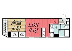 JR総武線 稲毛駅 徒歩3分の賃貸マンション 2階1LDKの間取り