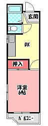 ニューロイヤルハイツ 4階1DKの間取り