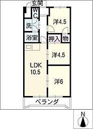 サクセス小田井[3階]の間取り