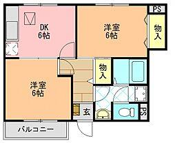 奈良県大和高田市大字築山の賃貸アパートの間取り